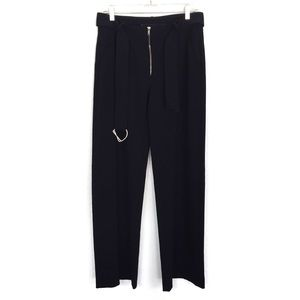 Zara Pants Belted Small Career Navy Blue